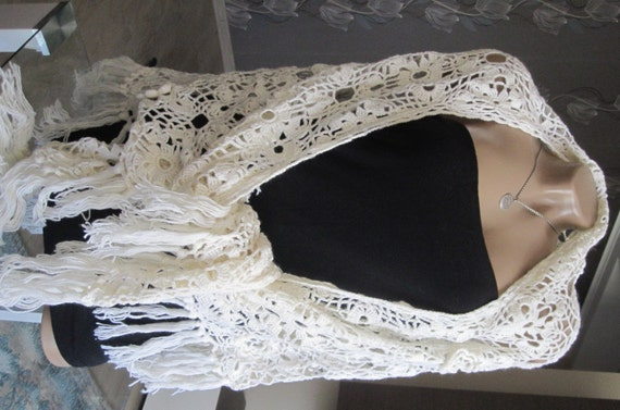 Ivory shawl handmade bridal crochet shawl winter wedding for Winter shawls for wedding dresses