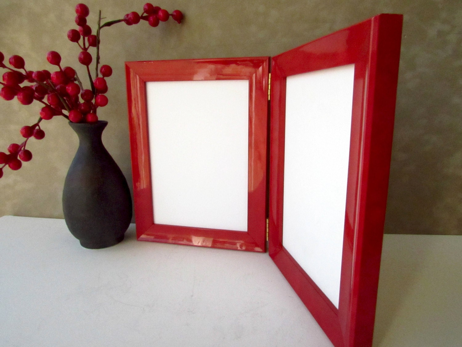 double hinged frame 5x 7 elegant picture frame red lacquer frame double photo frames 5x7 love frame red photo framegift forher