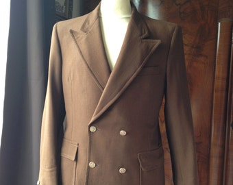 Mens vintage 1960's Hardy Amies tailored double breasted jacket, retro 60's style in brown with gold buttons. Slim fit