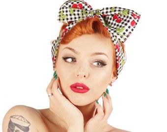 Rock Rockabilly 50s Pin Cherry bandana headscarf headband