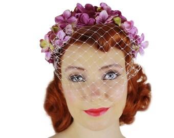 Vintage inspired flower birdcage veil fascinator Headpiece