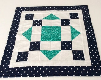 Handmade Table Topper Navy Blue and Kelly Green Quilted Square Table Centerpiece