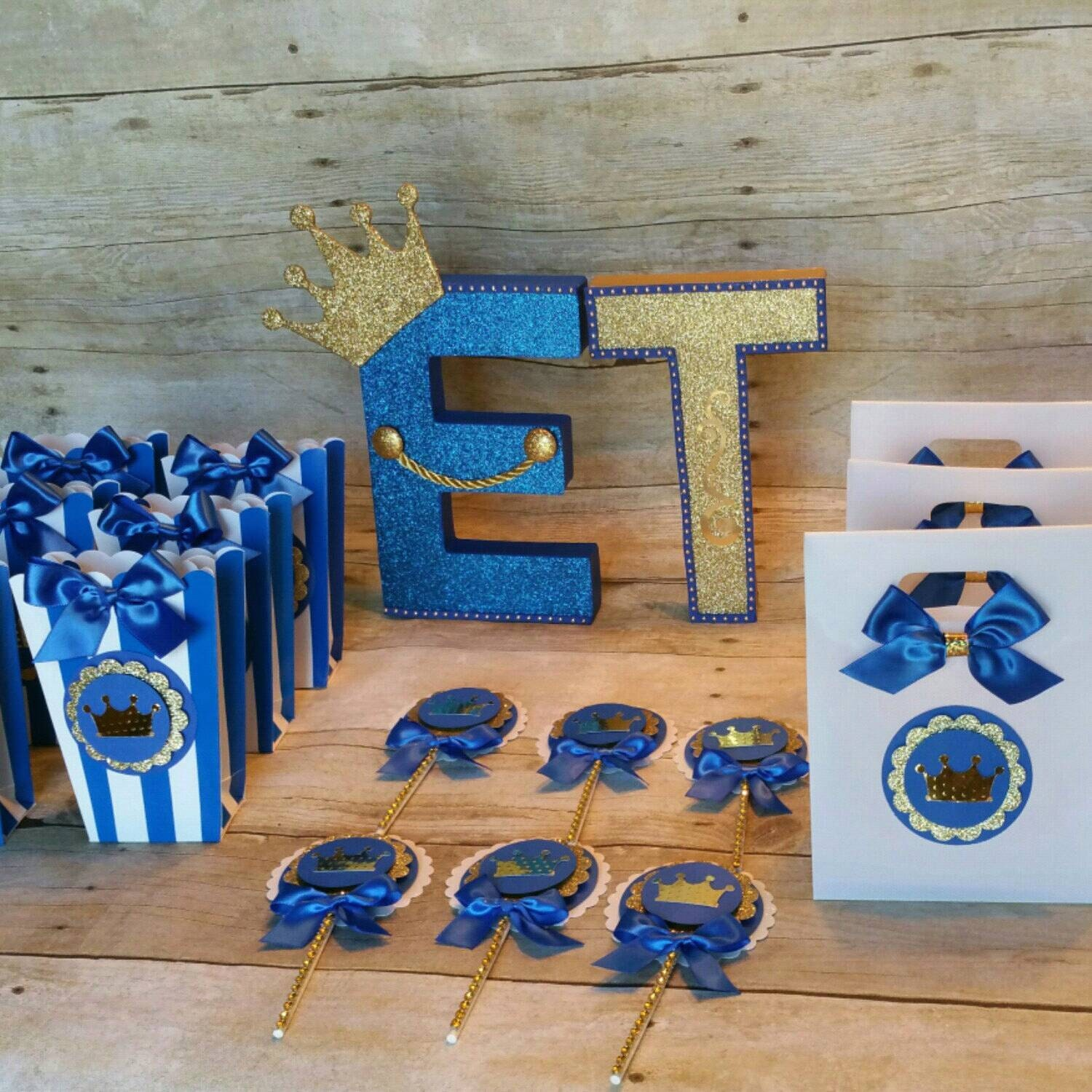 Royal Blue Baby Shower Theme: Royal Blue Gold Party Prince Party FavorCrownTreat BagsBaby