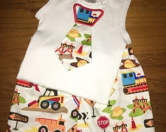 Construction singlet and shorts set, boys set, baby set sizes 000, 00, 0 & 1, Cake Smash Baby Gift
