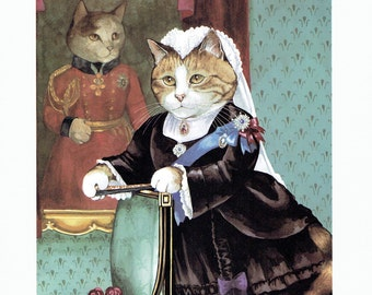 Susan Herbert Cat With Portrait Humorous, Fine Art Print, Book Page, Illustration, Wall Decor, Cat Lovers VC1