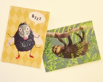 Set of 2 postcards fly and sloth
