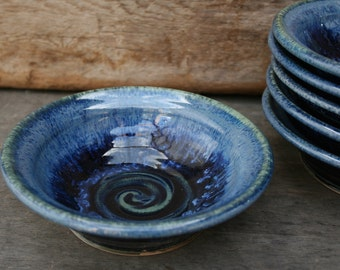 Pottery bowl- Everyday small ceramic bowl in deepwater: perfect for cereal, soup, salad and ice cream