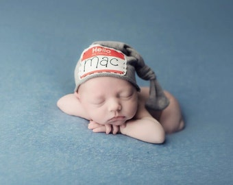 Hello Hat Newborn personalized hat, hand embroidered Custom beanie knot hat. Coming home hat. Knots and polka dots
