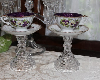 Pair of Lavender Pansy Tea Cup Centerpieces, Wonderland Mad Hatter Tea Party Teacup Candle Holders