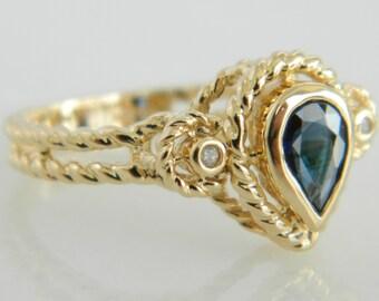 Beautiful 10K Gold Sapphire & Diamond Ring