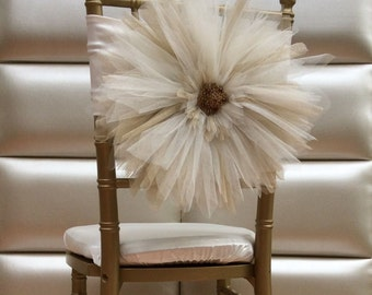 Tulle flower chair sash. Free shipping!