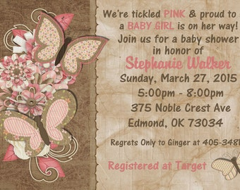 Print Your Own - Tickle Pink Butterfly Floral Baby Shower Invitation