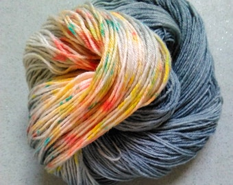 Skinny-dipping Hand dyed sock yarn 4ply finger weight superwash BFL and bamboo 100g. BFL is a British breed.