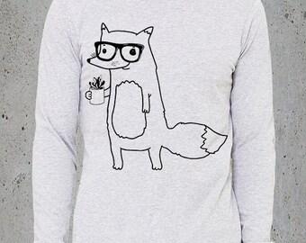 Mens COFFEE JUNKIE FOX TShirt)Fox Long Sleeve T Shirt-Best Selling Items,Mens Graphic Tee-Boyfriend Gift-Men's clothing-Birthday Gift Him