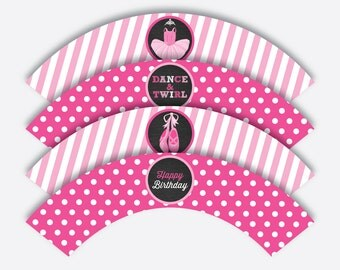 Instant Download, Ballet Cupcake Wrappers, Ballerina Cupcake Wrappers,  Pink Ballet Wrappers, Ballet Party Printable, Chalkboard (CKB.416)