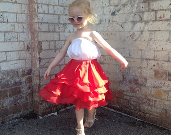 Girls Flamenco Dance Skirt in Ferrari Red