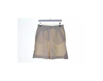Escada Womens Shorts Size 38 W28 White Beige Stripes Linen Cotton