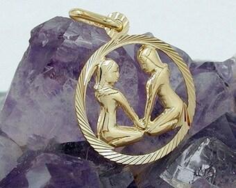 Zodiac pendant, twin, 9K GOLD