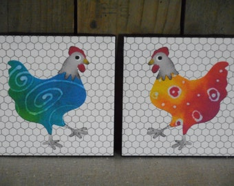 Tile coaster chickens; whimsical print from batik tie dye original design by Boda, set of 2