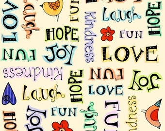 Happy Home Quote Fabric
