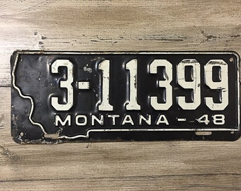 Vintage Montana License Plate 1948   Black White Rusty   Man Cave Decor   Old Collectible   For Him   Garage