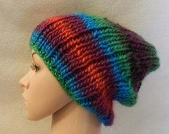 Hand knitted Lion Brand Landscapes Warm Hat V4379