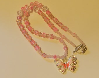 Classic Pink and White Butterfly Necklace Bracelet   V4612