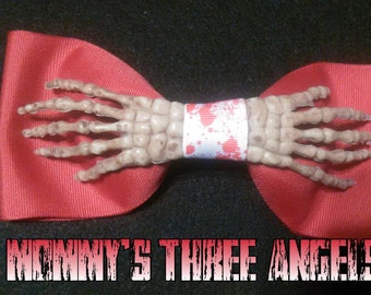 MADE TO ORDER Boney Hand/ Skeleton Hand Bow