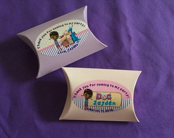 18 Personalized Doc Mcstuffins Pillow Boxes, Party Favors