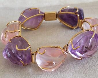 Mid-Century Modern 14K Gold Large Amethyst Pink Quartz Chunky Bracelet