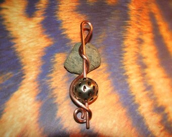 Beautiful Copper Twisted Wire Pendant with Silver Tone Ball