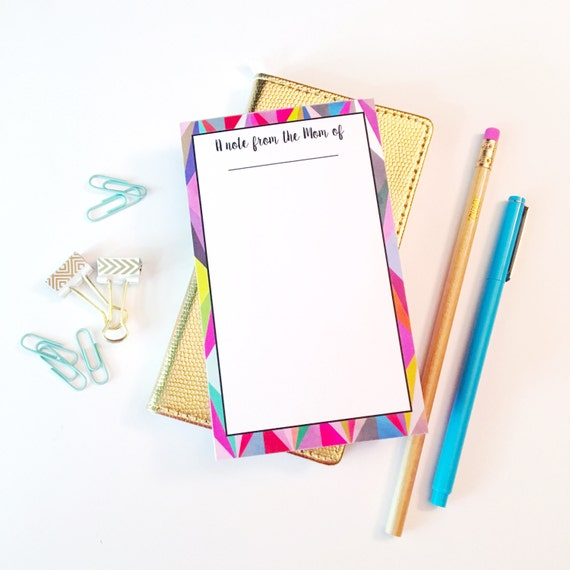 Mom notepad, A note from the mom of, personalized notepad, bright notepad, Mommy notepad