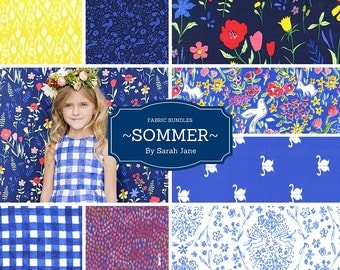 Fabric Bundle-Sommer-Sarah Jane-Michael Miller Fabric-Fabric by the Yard-Quilting Fabric-Sewing Fabric-8 ea. Fat Quarter,1/2 yd,1 yd Bundles