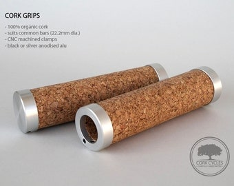 Bicycle Cork Grips - smooth surface, CNC machined anodized clamps, handcrafted, cork, touring, urban, city, bike, velo, trekking