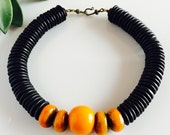 Africa Inspired Wood and Amber Choker