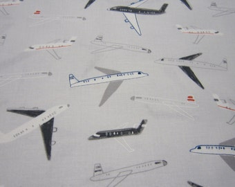 Dear Stella Airplane Cotton Fabric in Light Gray