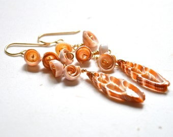 Puka Shell Earrings, Dangling Shell Earrings, Gold Chain Earrings, Shell Dangling Earrings, Mitra Shell Earrings