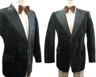 Vintage 70s Tuxedo Jacket Crushed Velvet Black Tux Formal 41