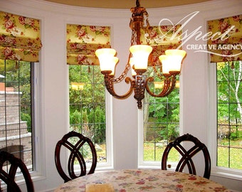 """Flat Linen Roman Shade """"Masterpiece"""" with chain mechanism, Floral pattern, Windows Treatment, Ready to made"""