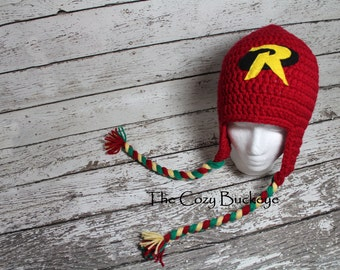 Robin Hat Bat inspired Crochet Character Hat Photography Prop Halloween Costume Sizes Newborn to Adult