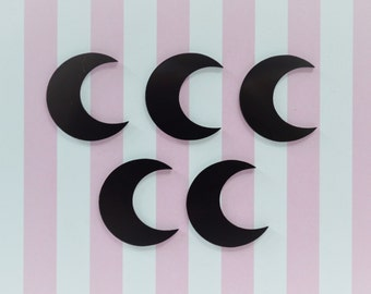 25mm Black Crescent Moon Flatback Resin Decoden Cabochon - 5 piece set