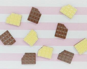 18mm Kawaii Chocolate and Vanilla Wafer Cookie Flatback Resin Decoden Cabochon - 10 piece set