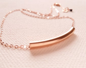 Pink gold tube necklace. Silver plated pink gold and tube. Handmade
