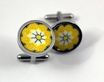 Cufflinks yellow. Wedding. handmade cufflinks.