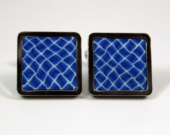 Blue Square Cufflinks 15 mm side