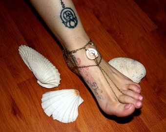 """Anklets """"at the beach"""" with shell - bronze"""