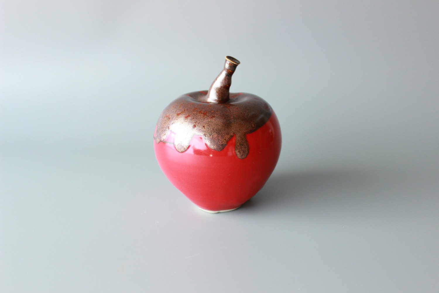 apple handmade ceramic apple home decor red table decor