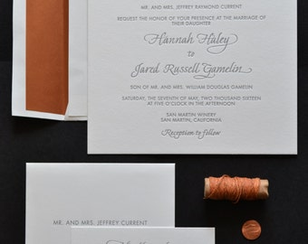 Custom Designed Letterpress Wedding Invitation Suite