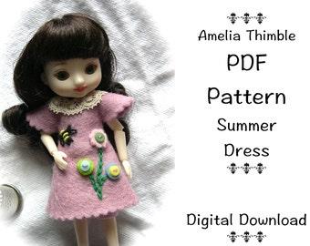 PDF Summer Dress Sewing Pattern for mini BJD Amelia Thimble