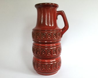 Scheurich Keramik 429 - 26 dark red handled vase, decor Alaska , Mid Century Modern,  made in the 1970s in West Germany. WGP vase. MCM vase